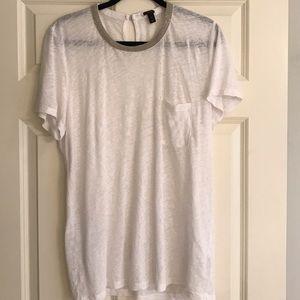 Jcrew white gold embellished shirt